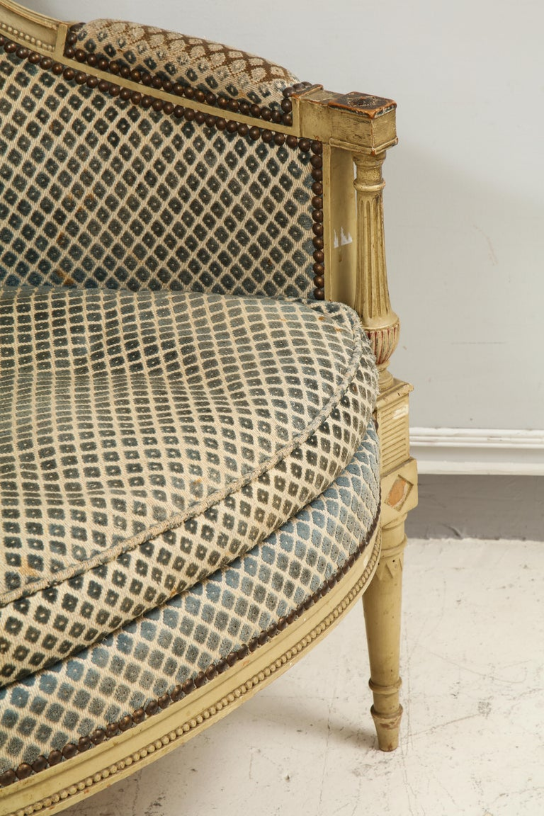 Pair of Antique Painted Directoire-Style Bergeres For Sale 3