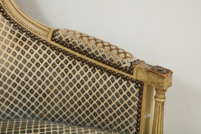 Pair of Antique Painted Directoire-Style Bergeres For Sale 4