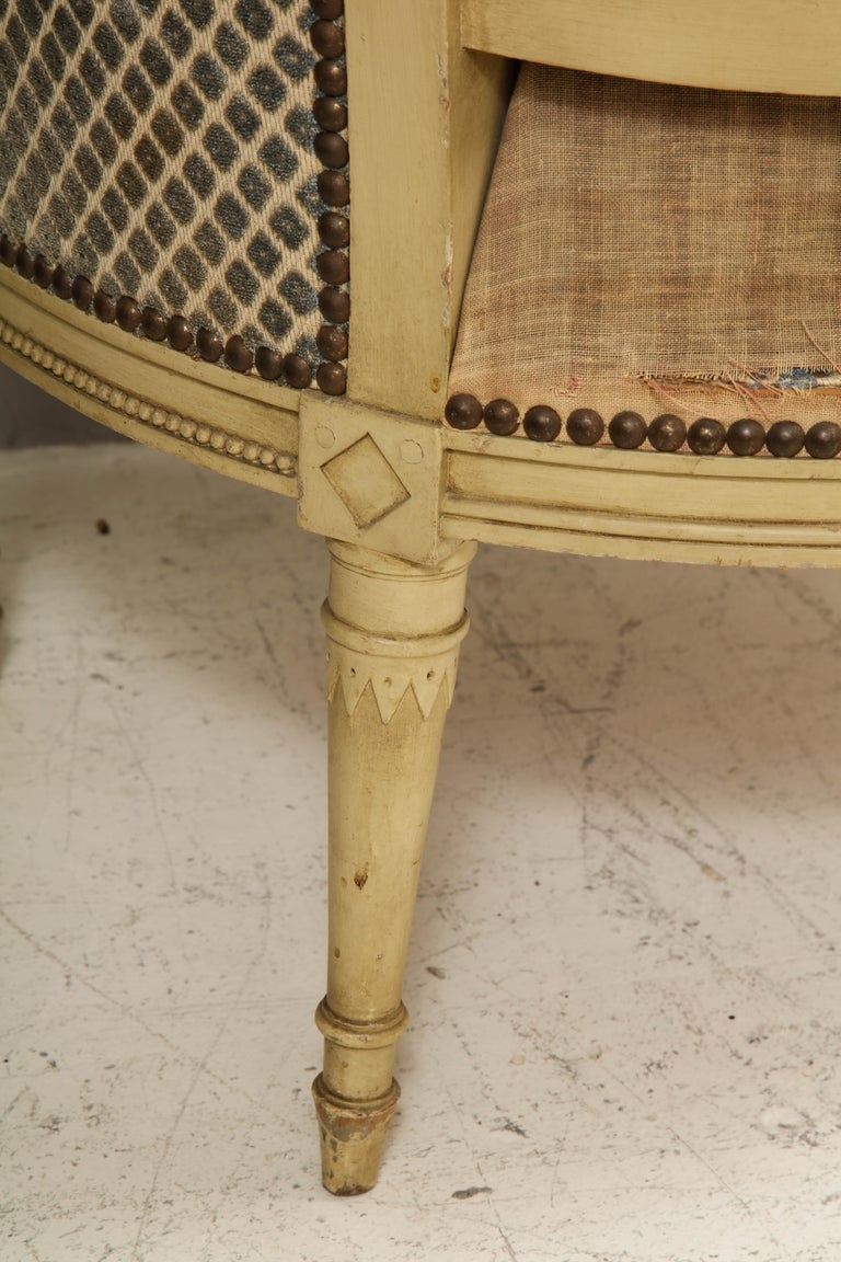 Pair of Antique Painted Directoire-Style Bergeres For Sale 5