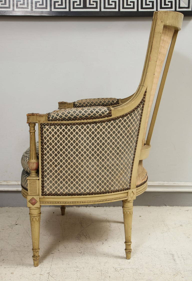 19th Century Pair of Antique Painted Directoire-Style Bergeres For Sale