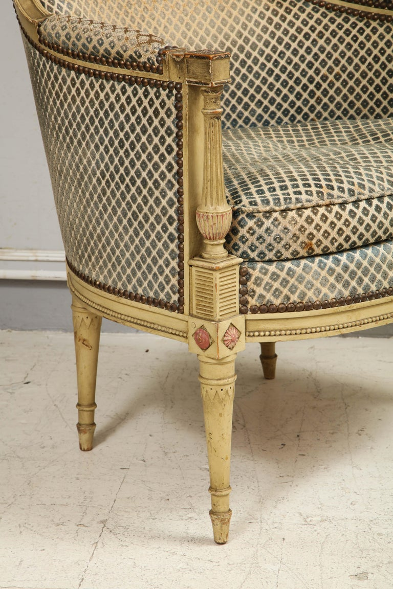 Pair of Antique Painted Directoire-Style Bergeres For Sale 2