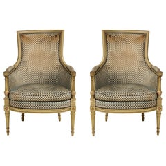 Pair of Antique Painted Directoire-Style Bergeres