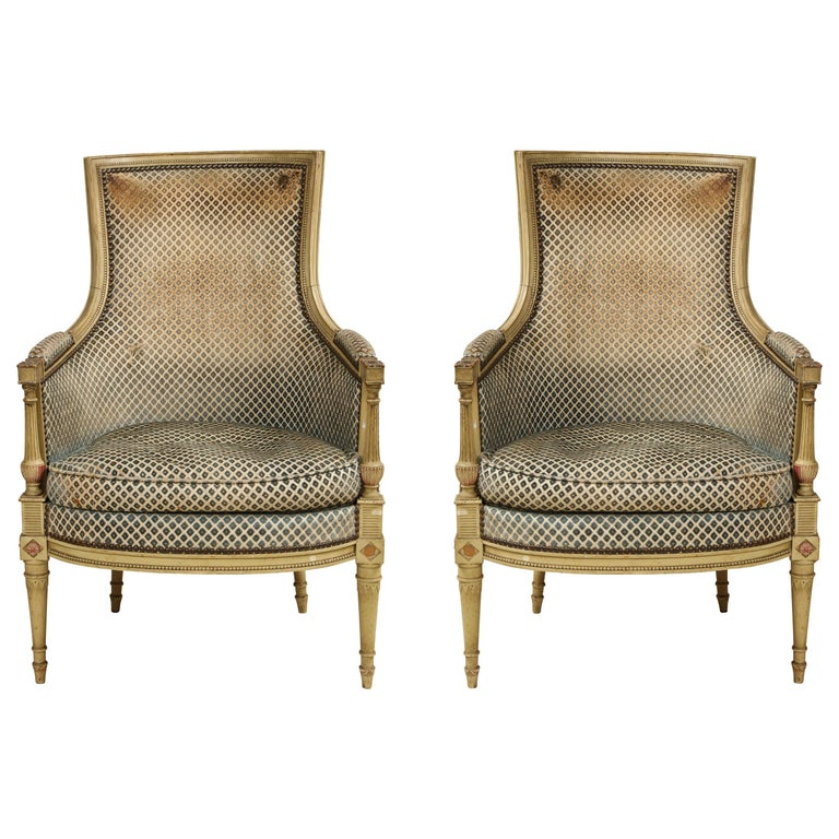 Pair of Antique Painted Directoire-Style Bergeres For Sale