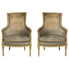 Pair of Antique Painted Directoire-Style Bergères