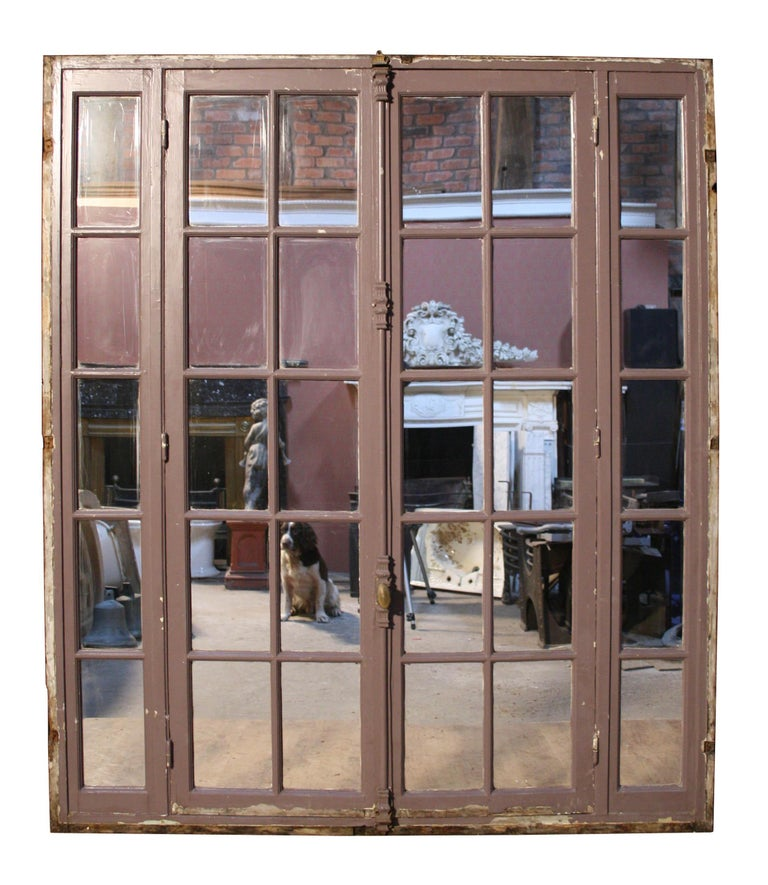 English Pair of Antique Painted French Mirrored Doors with Frame For Sale
