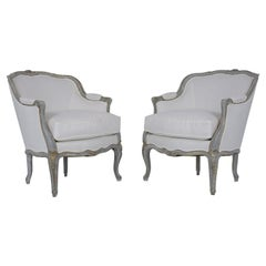 Pair of Antique Painted Louis XV Bergeres