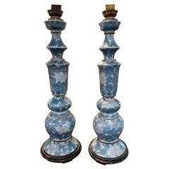 Pair of Antique Painted Porcelain Lamps