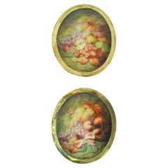 Pair of Antique Painted Porcelain Plaques