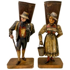 Pair of Antique Painted Tole Figures