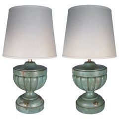 Pair of Antique Painted Wood Table Lamps