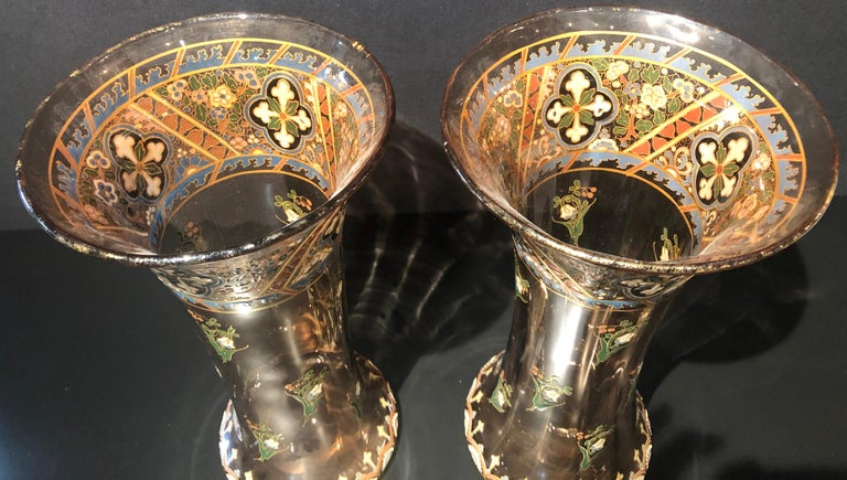 Pair of Antique Palatial French Jeweled Vases or Urns Emile Galle Style  For Sale 13