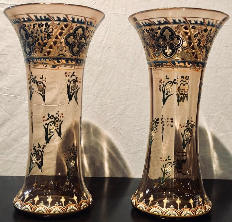 Art Nouveau Pair of Antique Palatial French Jeweled Vases or Urns Emile Galle Style  For Sale