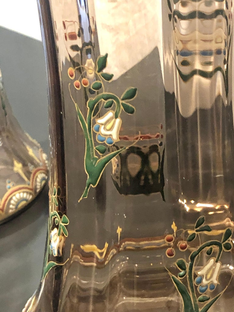 Pair of Antique Palatial French Jeweled Vases or Urns Emile Galle Style  For Sale 2