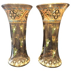 Pair of Antique Palatial French Jeweled Vases or Urns Emile Galle Style