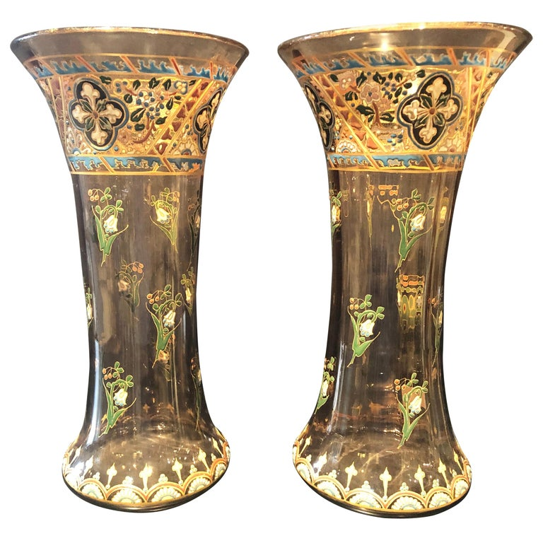 Pair of Antique Palatial French Jeweled Vases or Urns Emile Galle Style  For Sale