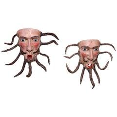 Pair of Antique Parachico Mexican Masks