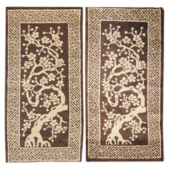 Pair of Antique Peking Chinese Rugs. Size: 2 ft 1 in x 3 ft 11 in ( each )