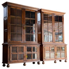 Pair of Antique Pepys Bookcases Matching Pair Oak Mid Twentieth Century