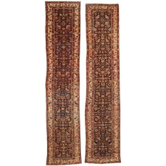 Pair of Antique Persian Malayer Carpet Runners, Matching Hallway Runners