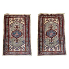 Pair of Antique Persian Sarab Ivory and Light Blue Small Area Rugs