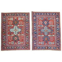 Pair of Antique Persian Serapi Heriz Square Rugs