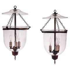 Pair of Antique Petite Bell Jar Lanterns