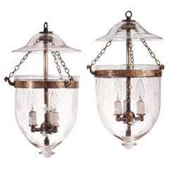 Pair of Antique Petite Bell Jar Lanterns with Trellis Etching