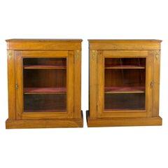 Pair of Antique Pier Cabinets, English, Walnut, Edwardian, Regency Revival