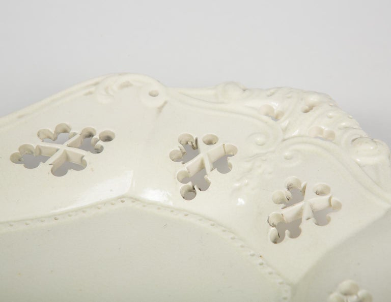 Rococo Pair of Antique Pierced Creamware Baskets and Stands For Sale