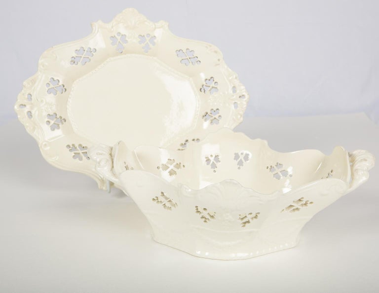English Pair of Antique Pierced Creamware Baskets and Stands For Sale