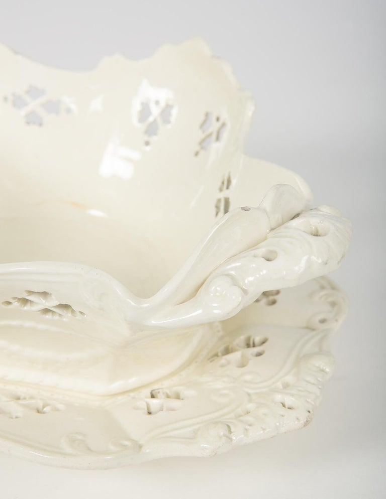 Molded Pair of Antique Pierced Creamware Baskets and Stands For Sale