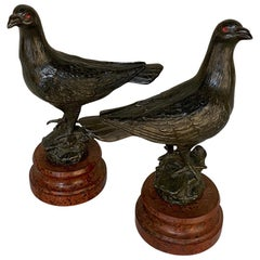 Pair of Antique Pigeon Statues, Bookends on Faux Marble Bases