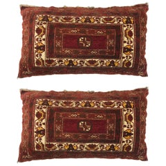 Pair of Antique Pillows Made From Antique Rug Fragment