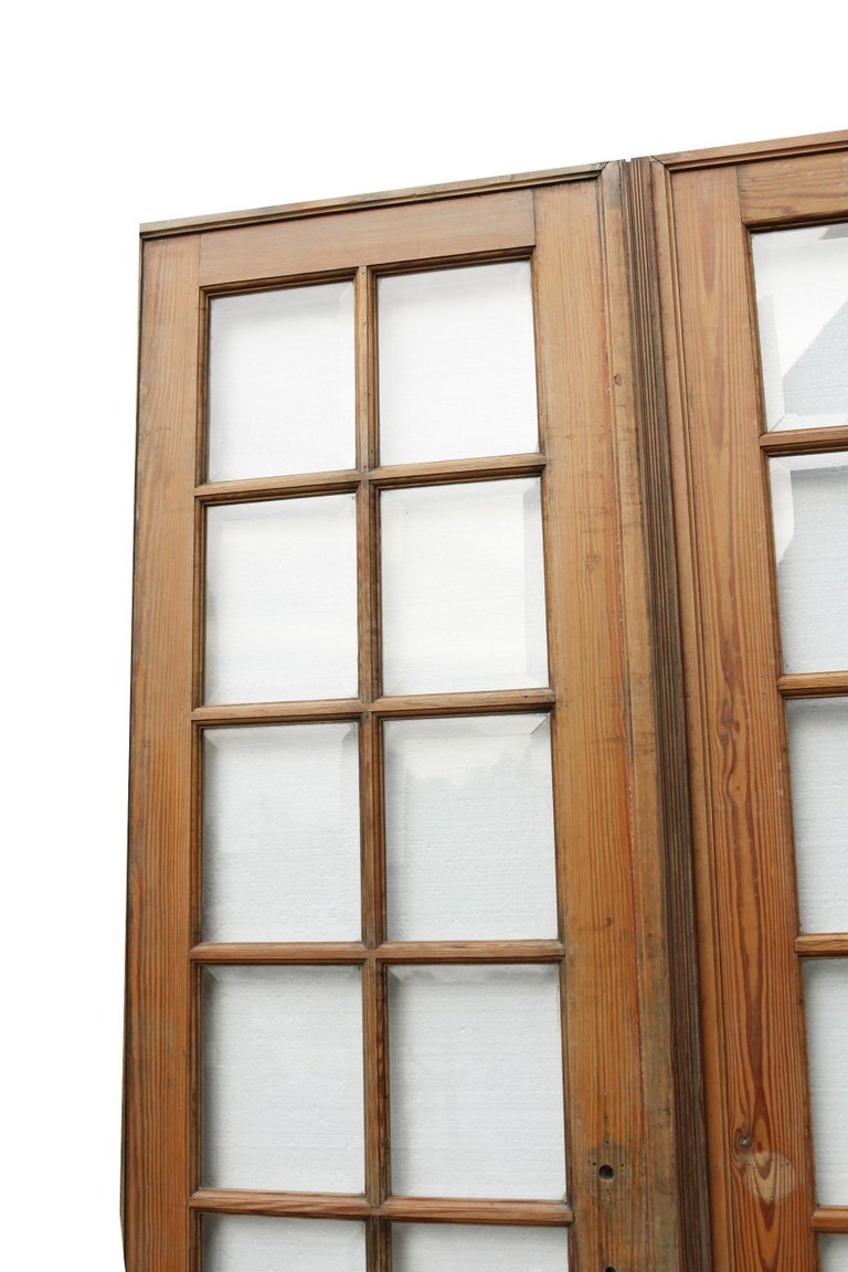 About:  These beautiful french doors feature bevelled glass panes. We have two matching pairs available.   Condition report:  In good condition for their age. Minor scratches to the glass panes. No breaks to the glass. There are no hinges or