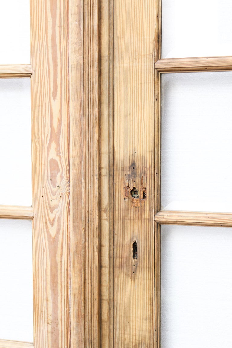 English Pair of Antique Pine French Glazed Doors For Sale
