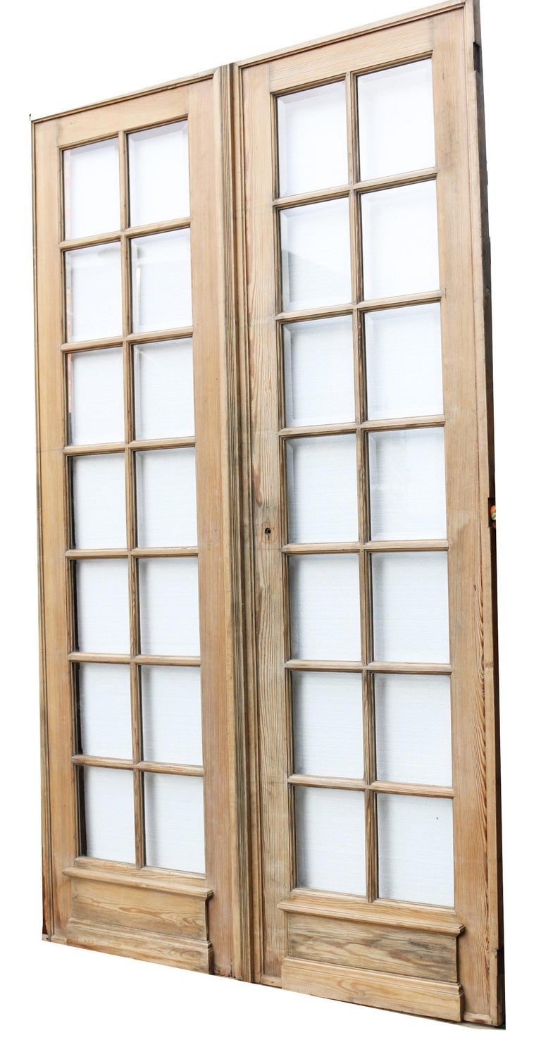 European Pair of Antique Pine French Glazed Doors For Sale