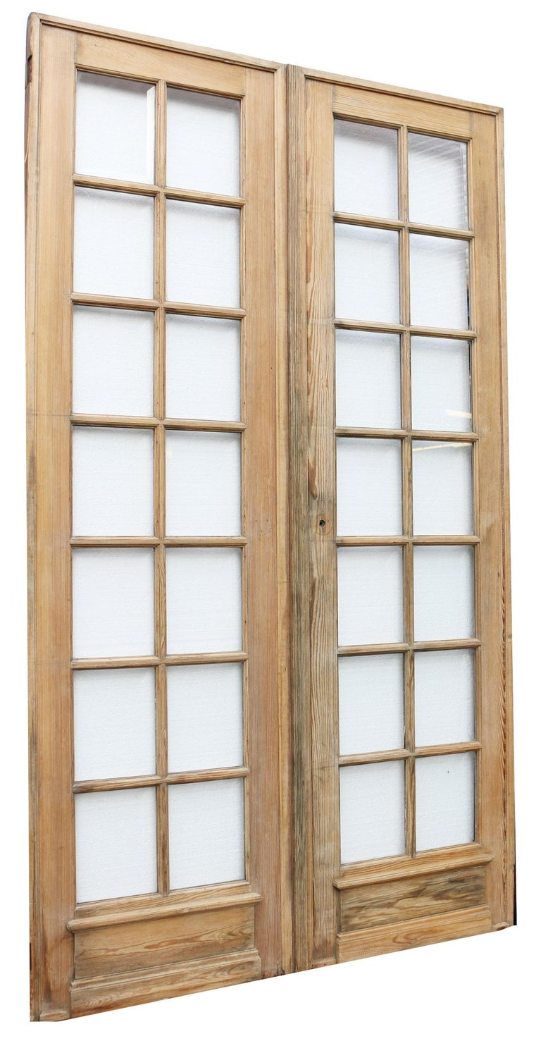 Hand-Crafted Pair of Antique Pine French Glazed Doors For Sale