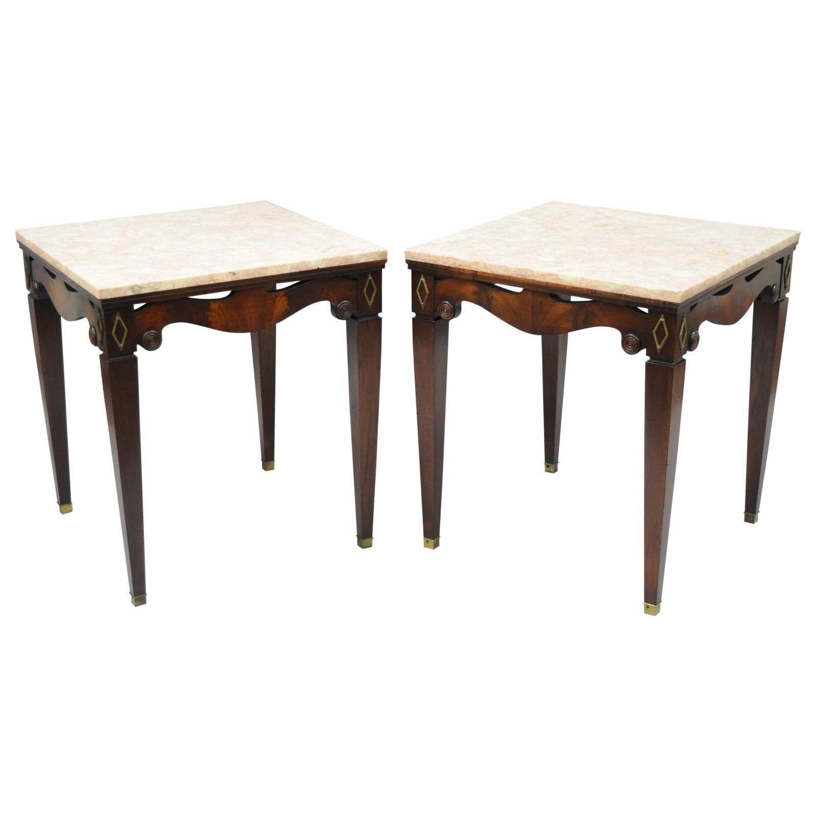 Gentil Pair Of Antique Pink Marble Top Mahogany End Tables Regency Square Weiman  Era