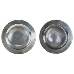 Pair of Antique Polished 9.5 inch Pewter Plates, English, 18th Century