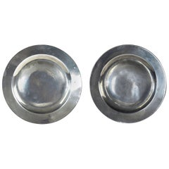 Pair of Antique Polished Pewter Plates, English, 18th Century