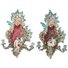 Pair of Antique Porcelain Sconces by Meissen