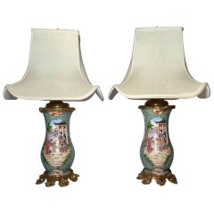 Pair of Antique Porcelain Urns Converted to Lamps with Bronze Mounts