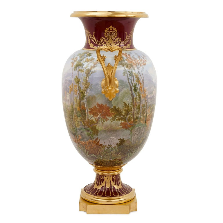 Napoleon III Pair of Antique Porcelain Vases by Sevres For Sale