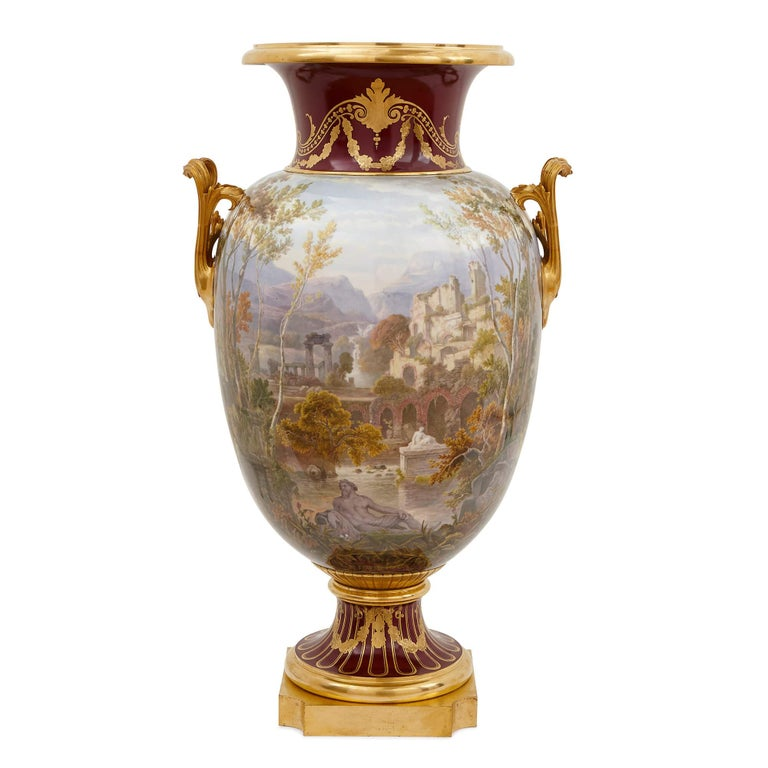 French Pair of Antique Porcelain Vases by Sevres For Sale