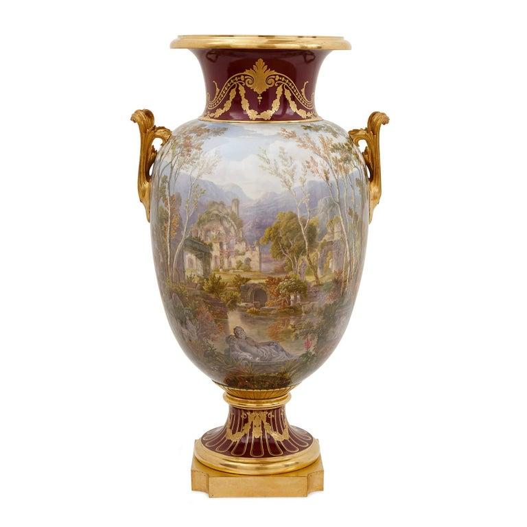 Gilt Pair of Antique Porcelain Vases by Sevres For Sale