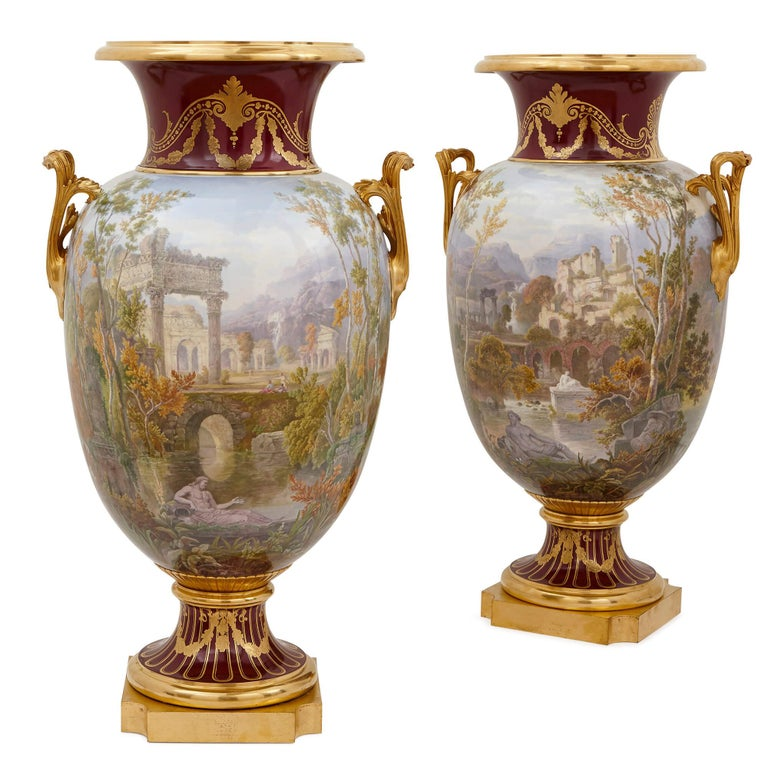 Pair of Antique Porcelain Vases by Sevres For Sale