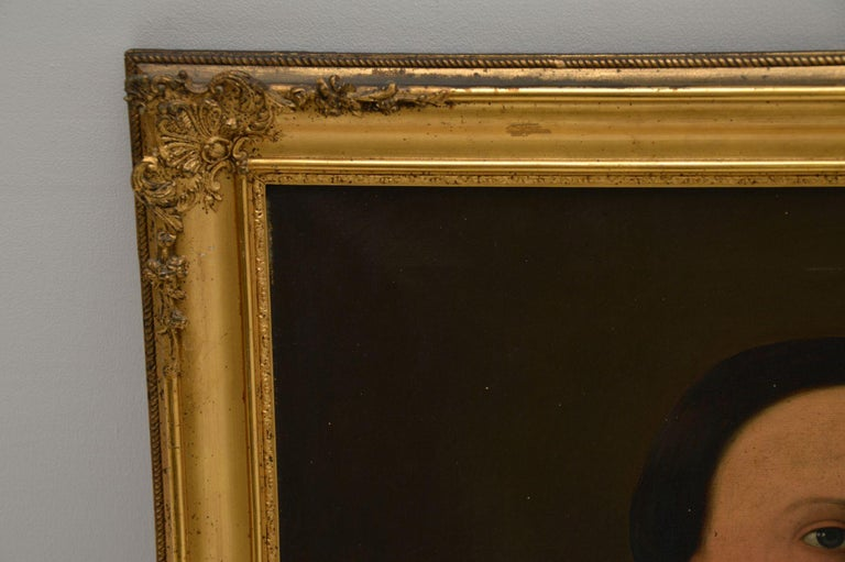 Pair of Antique Portrait Oil Paintings For Sale 5