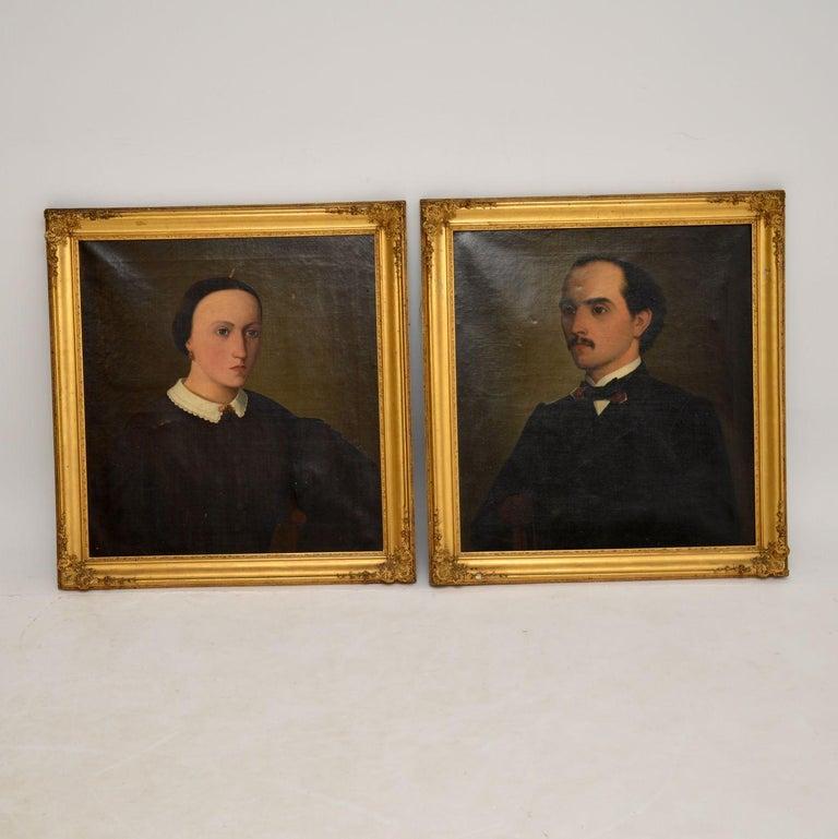 Victorian Pair of Antique Portrait Oil Paintings For Sale