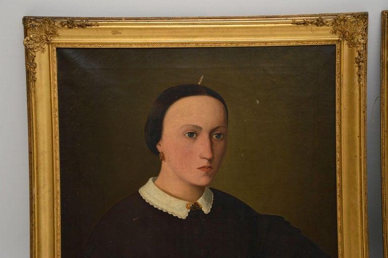 English Pair of Antique Portrait Oil Paintings For Sale
