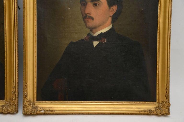 Pair of Antique Portrait Oil Paintings For Sale 1